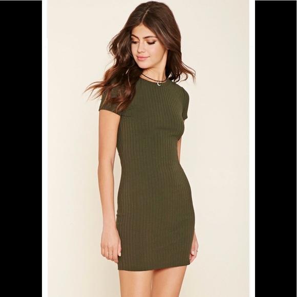 95c97854ef97 Forever 21 Dresses & Skirts - Forever 21 Green Ribbed Open Back T Shirt  Dress